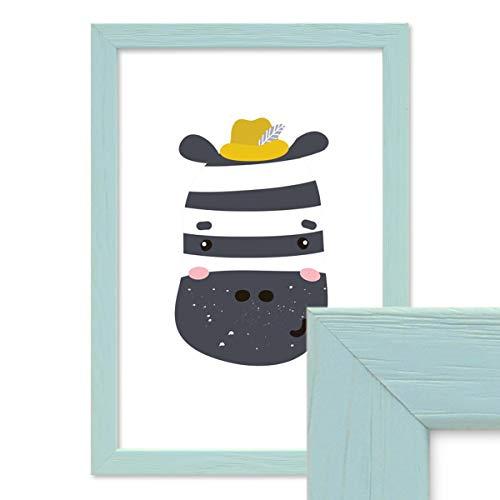PHOTOLINI Bilderrahmen Blau 21x30 cm/DIN A4 Massivholz mit Acrylglasscheibe/Fotorahmen Hellblau/Wechselrahmen