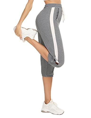 Enjyam Pantalon de Sport Femme Taille Haute en Coton 100% Pantacourt Femmes 3/4 vec Bande Blanche, Pantalon Pyjama d'intérieur de Jogging Fitness Yoga Course à Pied avec Cordon