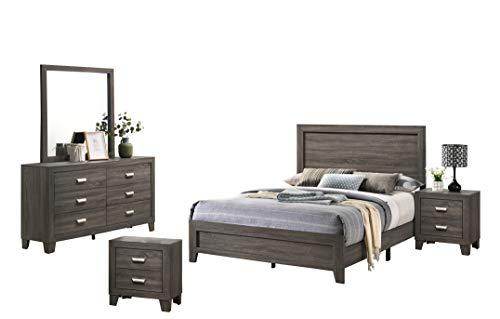 Best Quality Furniture 5PC Queen Bed + Dresser + Mirror + 2 Nightstands, Gray