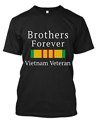 Vietnam Veteran Brothers Forever with Vietnam Service Medal Active T Shirt Personalized Tee Custom Long Sweatshirt Hoodie Black