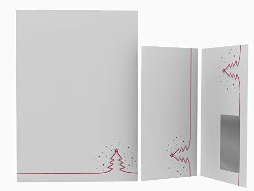 Weihnachtsbriefpapier Set | Rotes Tannenbäumchen | 50 Blatt weihnachtliches Motivpapier A4 | 50 Briefumschläge MIT Sichtfenster links im DIN LANG-Format