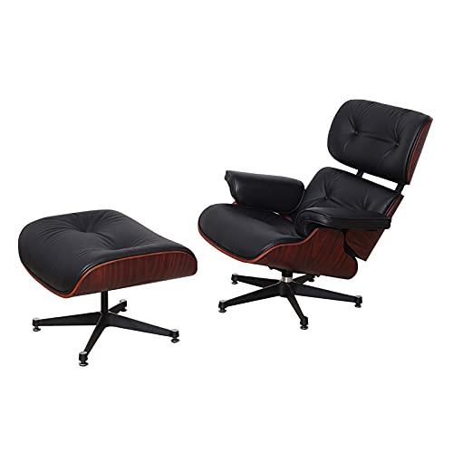 Poltrona reclinabile ergonomica con angolo di inclinazione di 15°, in vera pelle, trasformabile con poggiapiedi, per camera da letto, soggiorno, balcone, ufficio