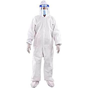 SKYLINA PPE Safety Kit for Full Body Protection- Non-Suffocating+Comfortable For Travelling- 90 GSM- Polyproplyene Material, Free Size for Men & Women White (1 PPE Kit Set)