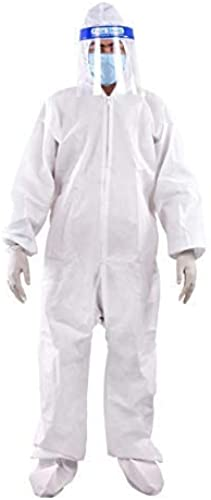Prifix PPE Safety Kit for Full Body Protection Non Suffocating Comfortable For Travelling 95 GSM Polyproplyene material White 1 Pc