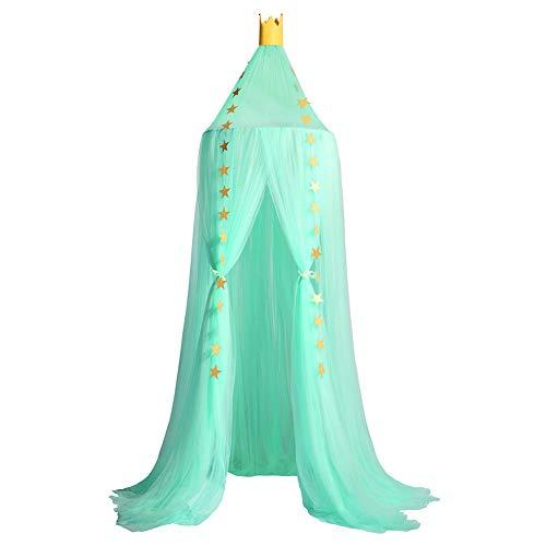 YXZN Moskitiera z gwiazdami, dekoracja namiotu wiszącego, łóżko dziecięce, baldachim tiulowy, zasłony do sypialni, domek do zabawy, do pokoju dziecięcego, ciemnozielony