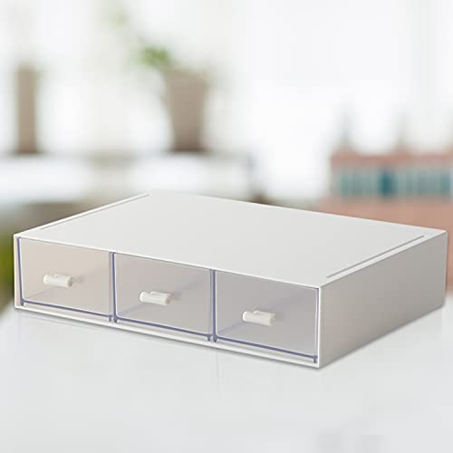 Faffooz Organizador de maquillaje Caja de almacenamiento apilable con 3 cajones Organizador Maquillaje de Tocador y Baño Bandeja De Almacenamiento De Joyas De Caja De Cosméticos