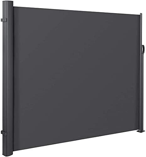NOBUNO Markise Seitenmarkise, einziehbarer Outdoor-Bildschirm für Garten, Polyester-Stoffe einziehbarer Außenbildschirm für Garten, Balkon, Terrasse-120 x 318 cm,Schwarz