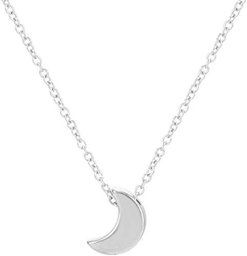 Collar Minimalista Luna Creciente Collar Largo de Oro Joyería de Mujer Collar con Colgante de Cadena sólida