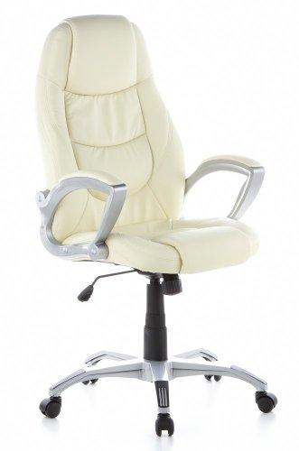 HJH OFFICE 621200 bureaustoel LIDO kunstleer crème, mooie stiksels, stevige bekleding, hoge rugleuning, managersstoel vaste armleuning, draaistoel, 100 kg, draaistoel