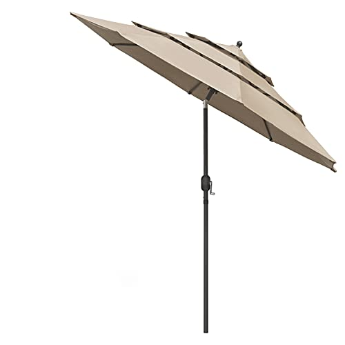 paritariny Patio Ombrello, 9 ft 3 Tier Patio Ombrello con Coperchio Protettivo Push Push to Tilt Outdoor Ombrello Esterno (Color : Brown)