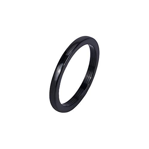 BlackAmazement Keramik Ring Beisteckring weiß rosa blau schwarz 2mm Damen Herren (Schwarz, 55 (17.5))