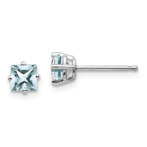 14ct White Gold Post Earrings Aquamarine Earrings Jewelry Gifts for Women