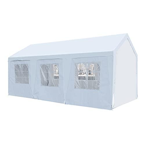 GOJOOASIS 3x6m Partyzelt Pavillon 180g/m² PE Plane Wasserdicht UV Schutz Festzelt Gartenzelt (3x6m-Weiße Plane)