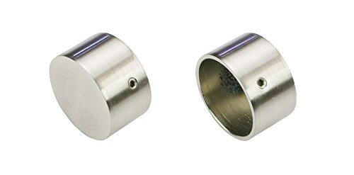 Liedeco Endstück, Endknopf Endkappe für Gardinenstangen, Stilgarnituren 28 mm ø | Edelstahl-Optik | 2 Stück