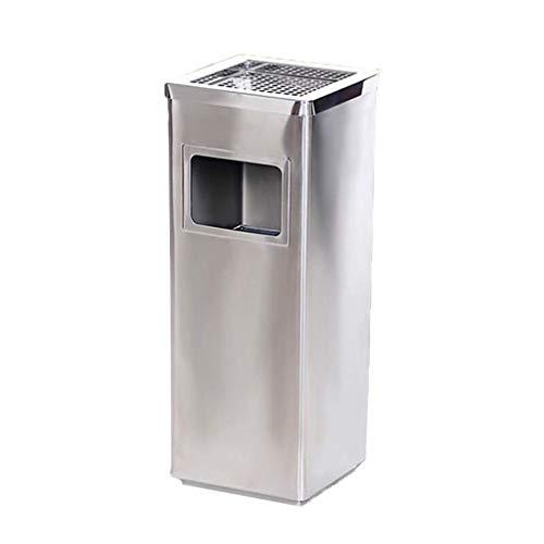 Cubos de basura rectangulares de acero inoxidable para exteriores Cenicero de rejilla Bote de basura Casa club Reciclaje de desechos verticales Contenedores de almacenamiento de papel de compost