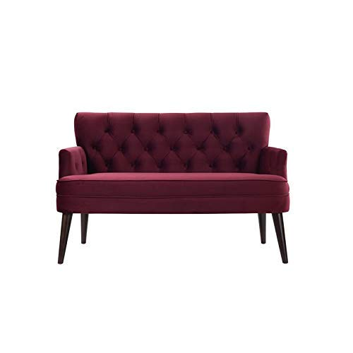 Jennifer Taylor Home Mia Button Tufted Recessed Arm Accent Settee, Burgundy