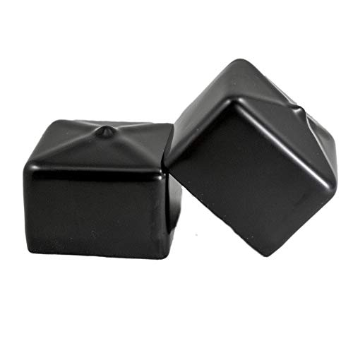 Prescott Plastics 1 1/2 Inch Square Black Vinyl End Cap, Flexible Pipe Post Rubber Cover ((A) Pack of 4 Caps)