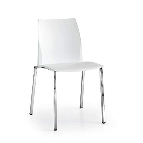 Milani Home s.r.l.s. Sedia Moderna di Design in Ecopelle Bianca con Struttura in Metallo per Arredo Casa Cucina Sala da Pranzo Studio Ristorante