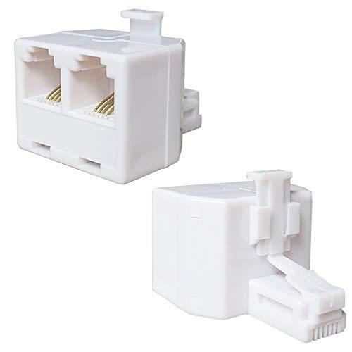 2 PCS RJ11 이중 전화 잭 스플리터 및 어댑터 전화선 스플리터 전화선 어댑터 플러그 1-2 잭 전화선 잭 스플리터 ADSL 팩스 모델 코드리스 전화 시스템 4-컨덕터