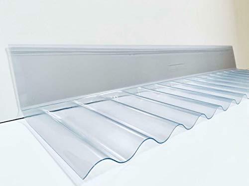 PVC Sinus Wellplatte 76/18 Wandanschluss in glasklar - PROFI QUALITÄT - Breite: 1106 mm Profilseite: 245 mm Glatte Seite: 130 mm
