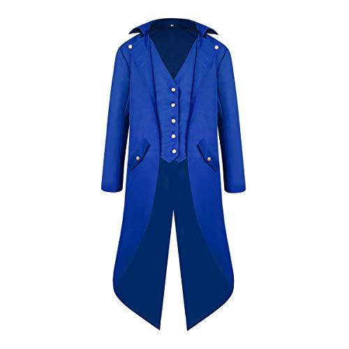 Yan Dream Mens Gothic Medieval Tailcoat Jacket Steampunk Vintage Victorian Frock Coat Halloween Costume (Medium, Blue)