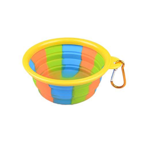 8in1 Faltbare Hundenapf Food Grade Silikon BPA frei Faltbare erweiterbare Haustier Katzenfutter Wasser Fütterung tragbare Travel Bowl Free Karabiner,Yellow