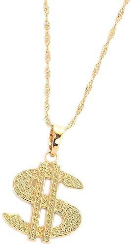 WLHLFL Collar Placa de Oro Hip Hop Dólar Estadounidense Collares Pendientes Femeninos para Mujeres Accesorios de joyería para Mujeres Hombres Regalo
