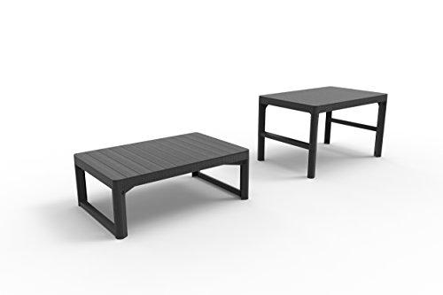 Koll Living Gartentisch Lyon, Graphit - höhenverstellbar als Esstisch oder Loungetisch - ansprechende Rattanoptik mit Rezolith-Tischplatte in Holzoptik