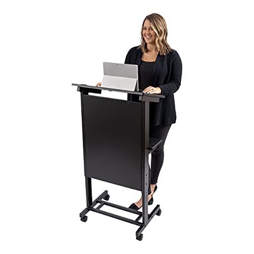 Stand Up Desk Store - Leggio regolabile in altezza con telaio in acciaio resistente (telaio nero/ripiani neri, 64,8 cm di larghezza)