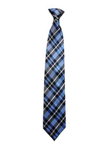 Covona Men's Blue, Black and Grey/ Checkered Tie (Clip-on)