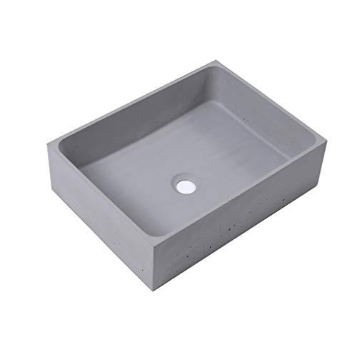 18,9 x 14,2 x 5,5 Zoll Rechteckiges Waschbecken, Handgefertigt aus Beton, Glattem und Modernem Aufsatzwaschbecken für Badezimmer (Grau)
