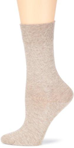 Hudson RELAX COTTON Damen Socken, Baumwollsocken Damen ohne Gummib&, Frauen Socken mit verstärkter Sohle (hautfre&lich, viele Farben) Menge: 1 Paar, Beige (Chinin-mel. 0713), Gr. 39-42