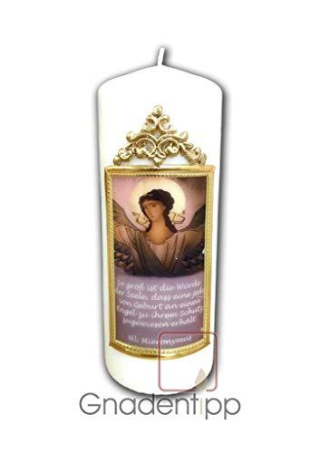 Gnadentipp geweihte HL. Schutzengel Kerze mit Text, Größe 8 x 25 cm