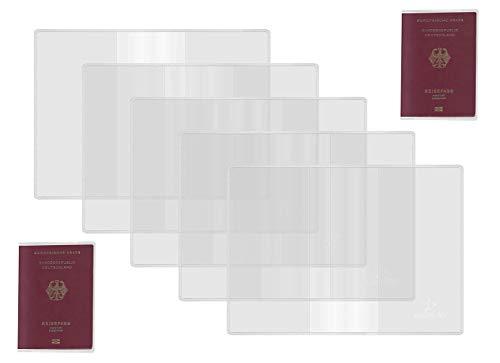 Reisepasshüllen 5 Pack, Passschutz aus durchsichtigem Kunststoff, transparente, gefrostete Passhüllen für Pässe in Standardgröße RFID-ID-Kartenhüllen Zubehör für Reiseveranstalter für Frauen Männer