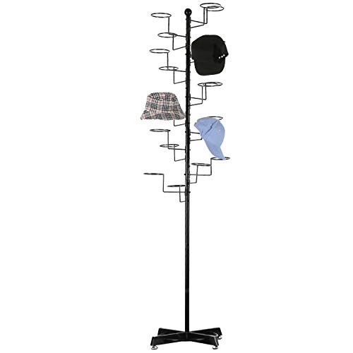 Modern Black Metal Freestanding Customizable Retail Display Stand with 20 Circular Hooks for Hats...