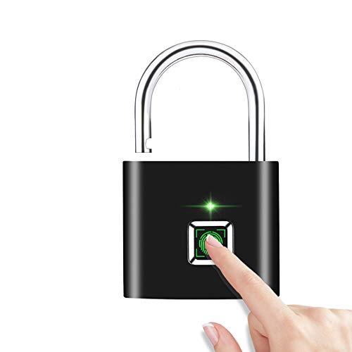 Futurehom Lucchetto Per Impronte Digitali, 360 °Smart Lucchetto per Impronte Digitali con Ricarica USB, Lucchetto di Sicurezza per Impronte Digitali Portatile per Borsa, Armadietto, Valigia (Nero)