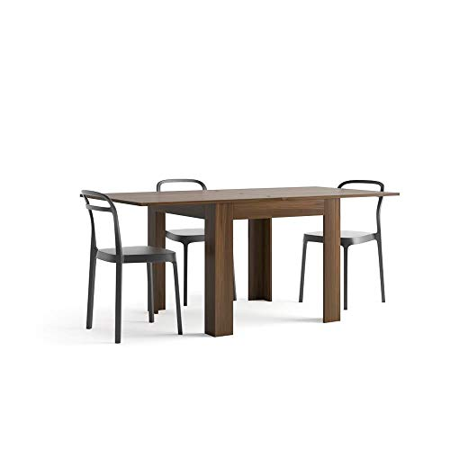 Mobili Fiver, Mesa Extensible, Modelo Eldorado, Color Nogal Americano, 90 x 90 x 79 cm, Made in Italy