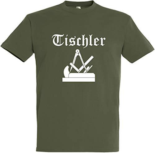 """Herren T-Shirt Tischler Zunftwappen 2\"""" S bis 5XL (2XL, Olive)"""