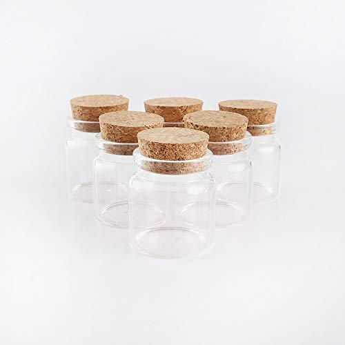 2 mini tarros de cristal de 20 ml con tapones de corcho, botellas de vidrio con tapón de corcho. (0.5 oz, 20 ml)