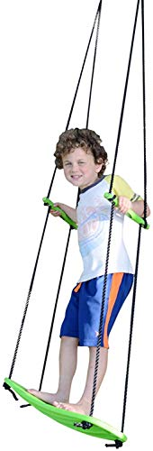 Swurfer Kick Stand Up Surfing Tree Swing Outdoor Swings for Kids Up to 150 Lbs - Hang from Up to 10 Feet High - Includes 24' SwingBoard, UV Resistant Rope, & Handles