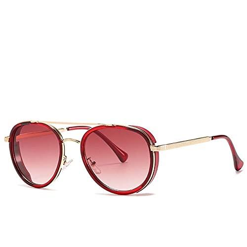 AMFG Gafas de sol con marco redondo retro moderno para hombres y mujeres (Color : D)