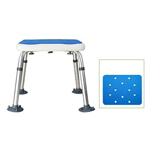 Miaoao-HL Die Höhe der Duschhocker ist einstellbar, und die Sicherheit und Haltbarkeit der Aluminiumlegierung Beine sind geeignet for ältere Menschen Medizintechnik PE Umweltschutz Blue-Board