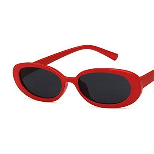 PPLAX Gafas de Kurt Cobain Gafas Hombres Mujeres de Lujo de la Marca del óvalo de Las Gafas de Sol Mujer Hombre Nirvana Gafas de Sol UV400 de Conductor (Color : Red Black)
