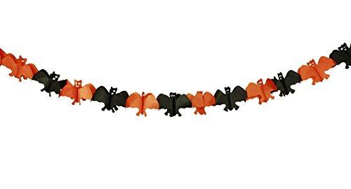 HAAC guirnalda Murciélago Longitud 3Metros Color Negro Naranja para Halloween Carnaval