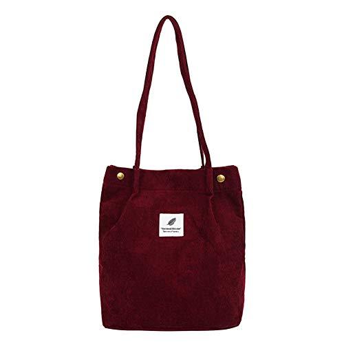 jEZmiSy Lässig große Kapazität Cord Shopping Umhängetasche Frauen Reisen Tote Handtasche Wine Red