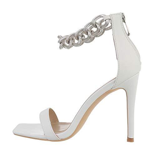Ital Design Damenschuhe Sandalen & Sandaletten High-Heel Sandaletten, JRX2013-, Kunstleder, Weiß, Gr. 38