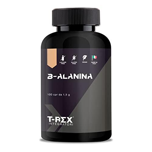 Beta Alanina 100 compresse da 1000mg | Integratore alimentare a base di B-Alanina con Vitamina B1, B6 ed E. Potente post workout per recupero muscolare T-Rex Integratori