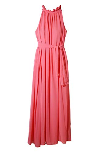 Eyekepper Summer Chiffon Ruffle Neck Sleeveless Evening Ball Gown Long Maxi Dress -$8.83(50% Off)