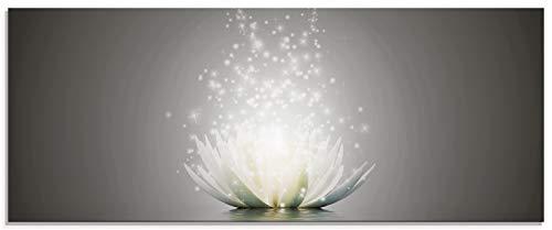 Artland Glasbilder Wandbild Glas Bild einteilig 125x50 cm Querformat Natur Botanik Blumen Lotusblume Seerose Abstrakt Glitzer Kunst S7FD