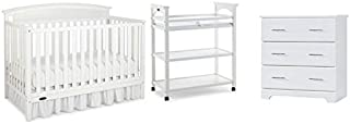 Home Square 3 Piece Nursery Furniture Set with Crib Chest and Changer in White